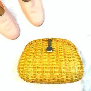 Vintage Italian Wicker Clutch/Purse w/ Gold Chain